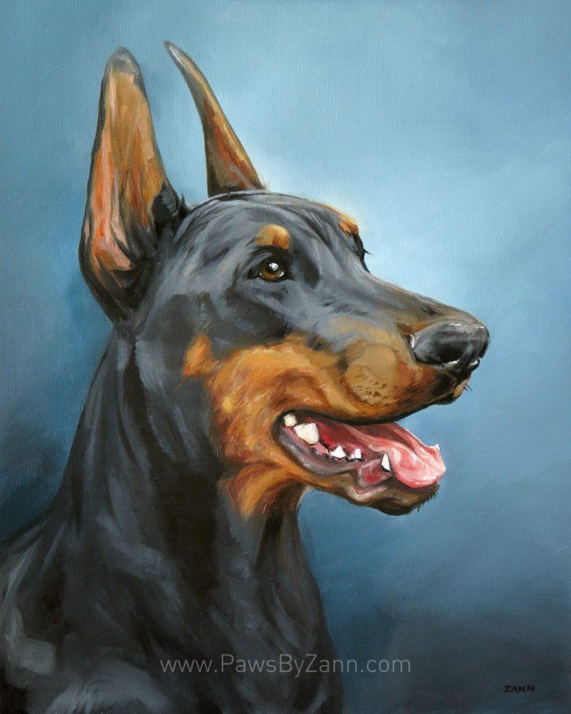 colourful pet portrait doberman painting
