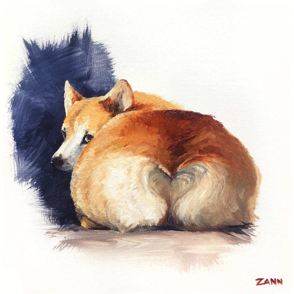 cheeky corgi butt painting art