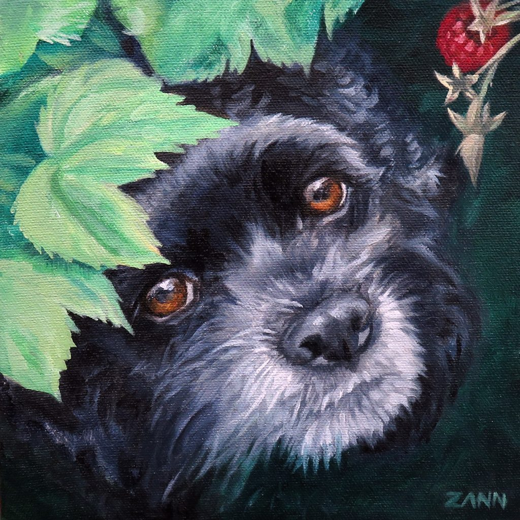 Colourful pet portrait painting black and green
