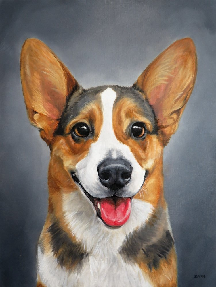 Happy Dog Painting, Happy Corgi Art, Dog Portrait