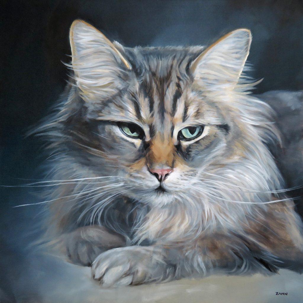 Cat painting by artist Zann Hemphill