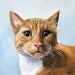 cat painting, orange cat painting in oil