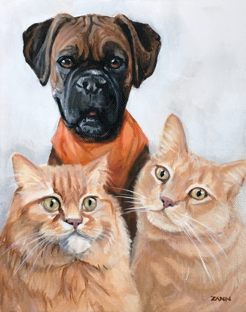Two Cats and Dog in Painting Together