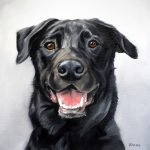 Black Dog Portrait Painting