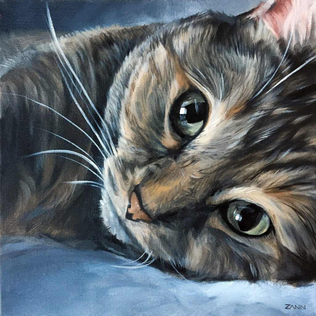 Cat portrait painting by Zann