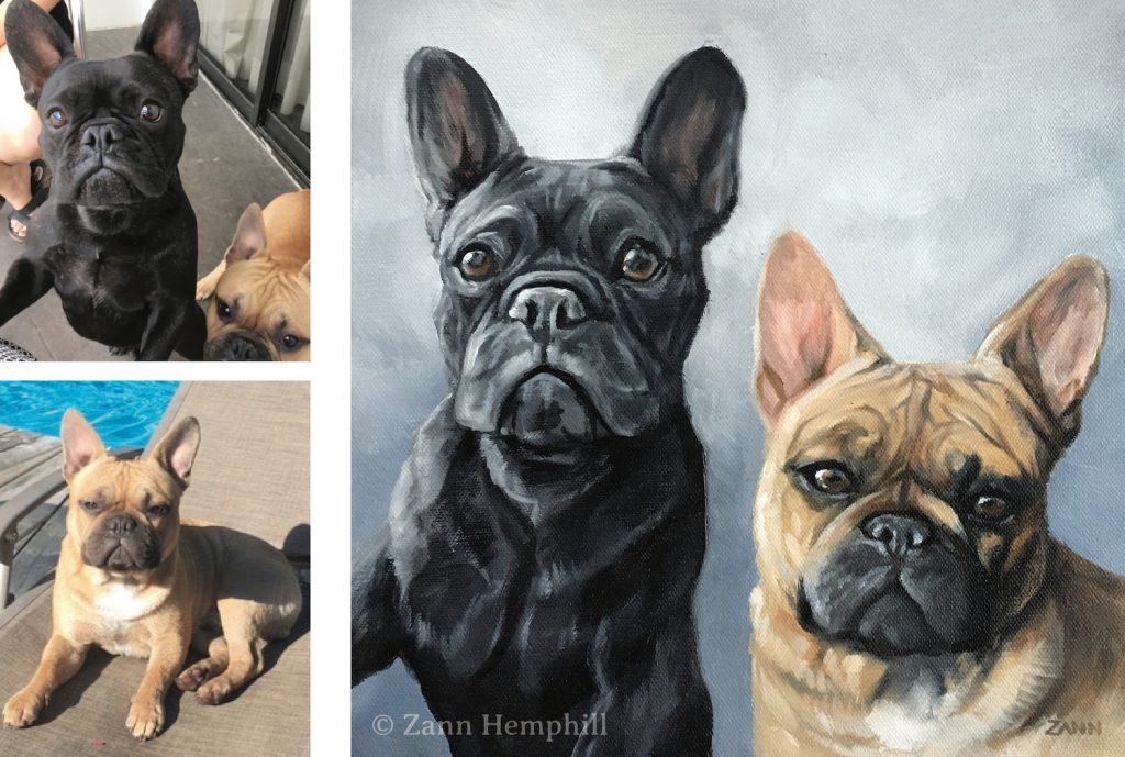 Dog Portrait from photos Frenchies