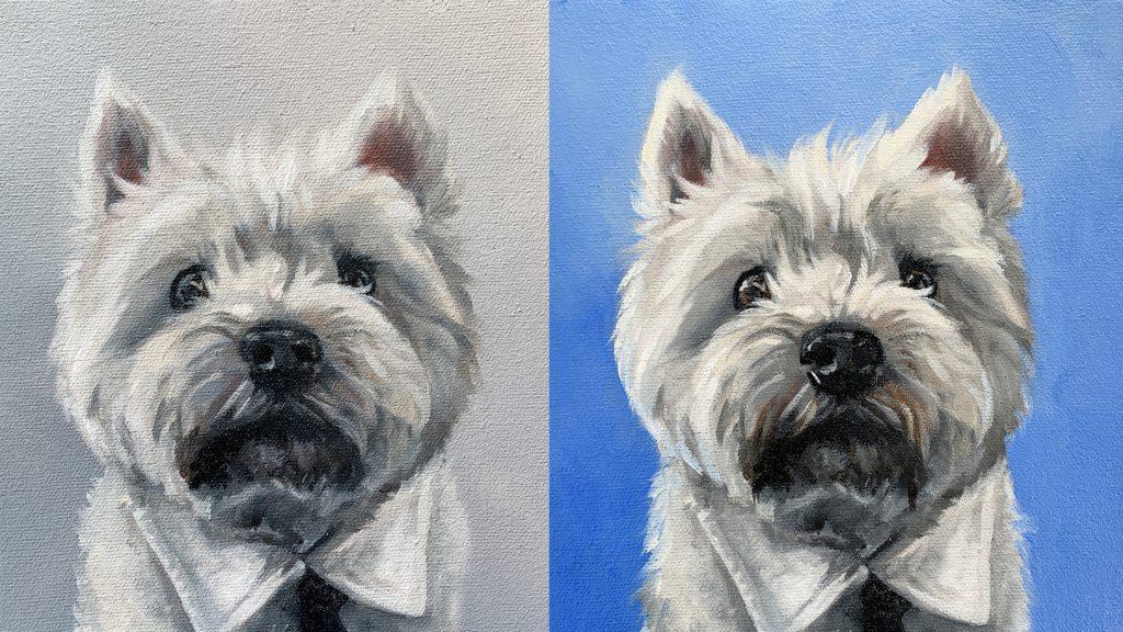 colourful pet portrait painting change