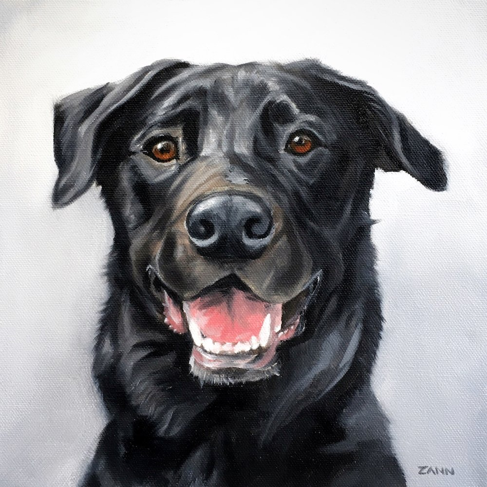 Happy Dog Painting Art in Oil