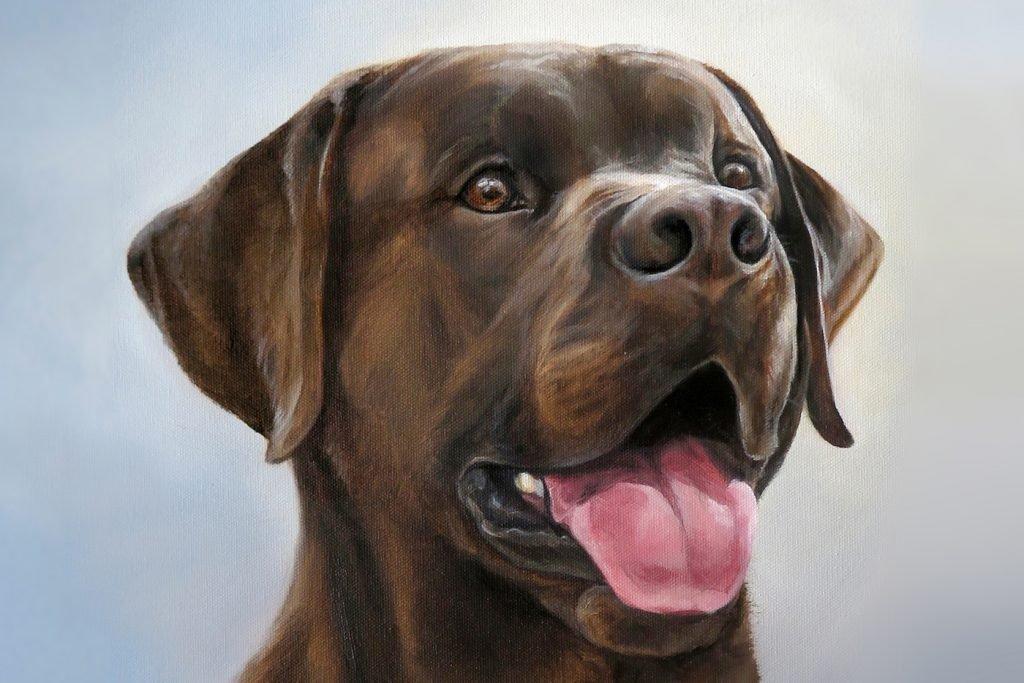 Happy Dog Art Chocolate Lab Retriever