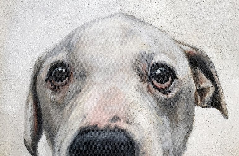 Pet Memorial painting, dog memorial art with ashes