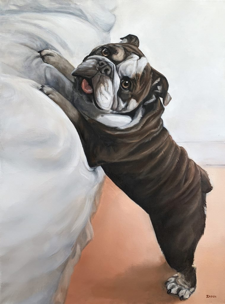 Bulldog Puppy Portrait Painting Art