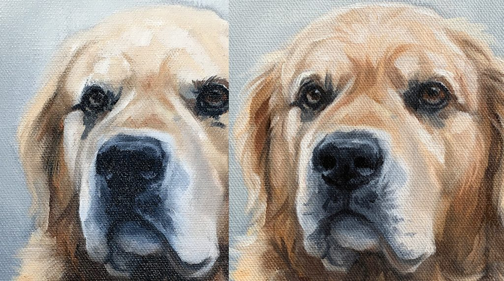 How to paint Golden Retriever Details in oil