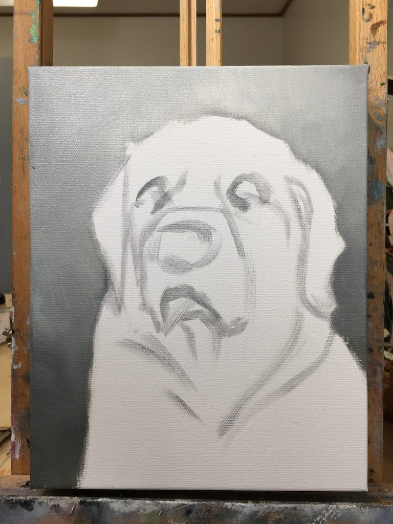 golden retriever portrait sketch by zann