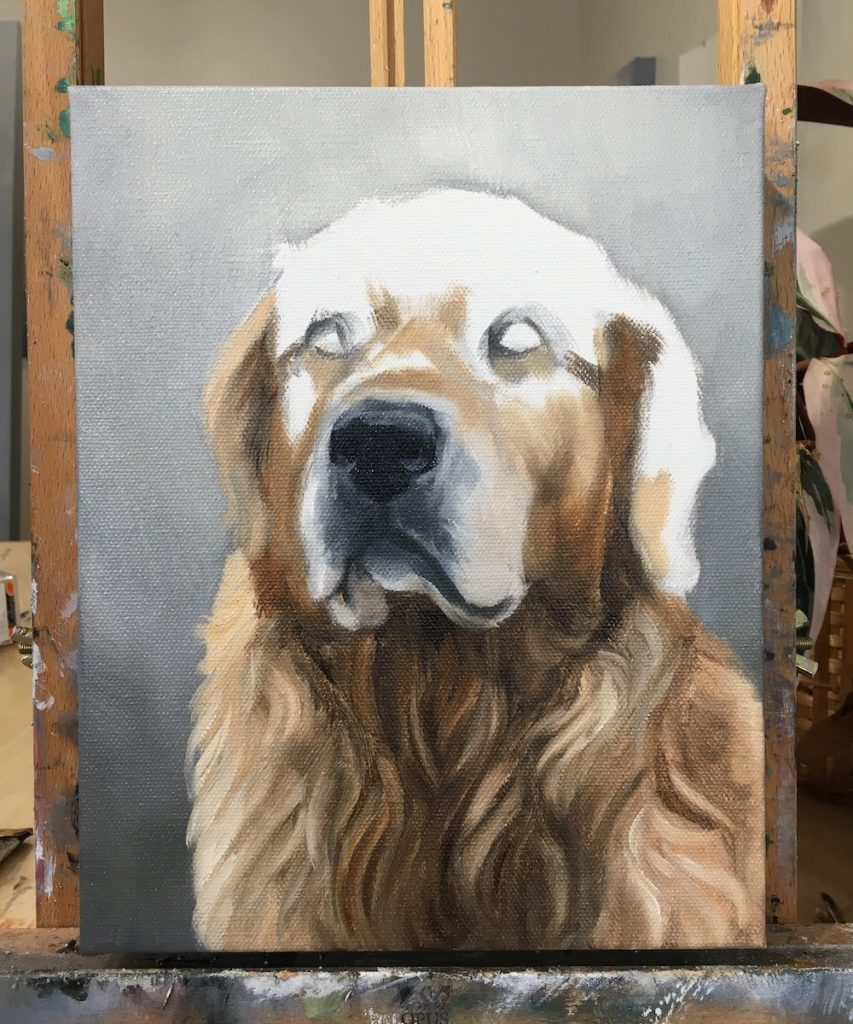 Golden retriever painting in process