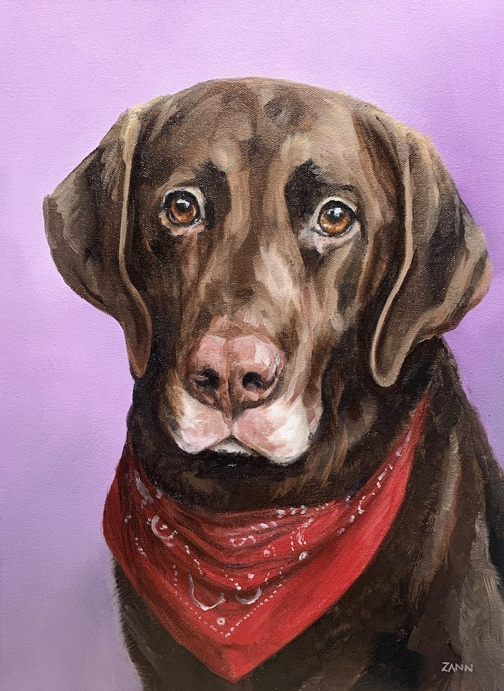 Chocolate Lab Dog Portrait. Custom Dog Portrait in Oil Paint with red bandana