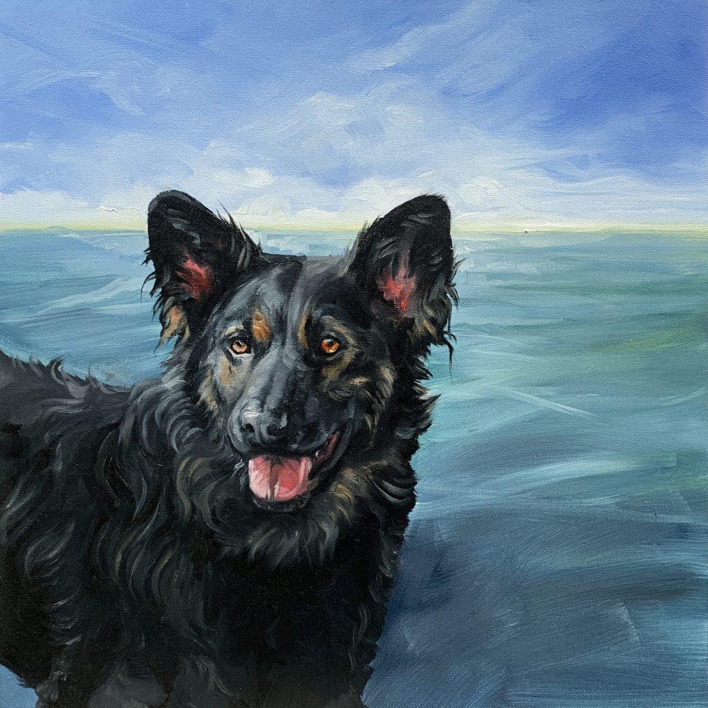 Pet Portrait Oil Painting of a black dog by Zann Hemphill