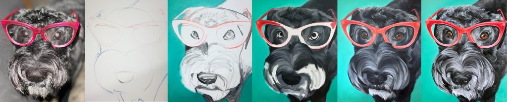 dog painting portrait process from photo