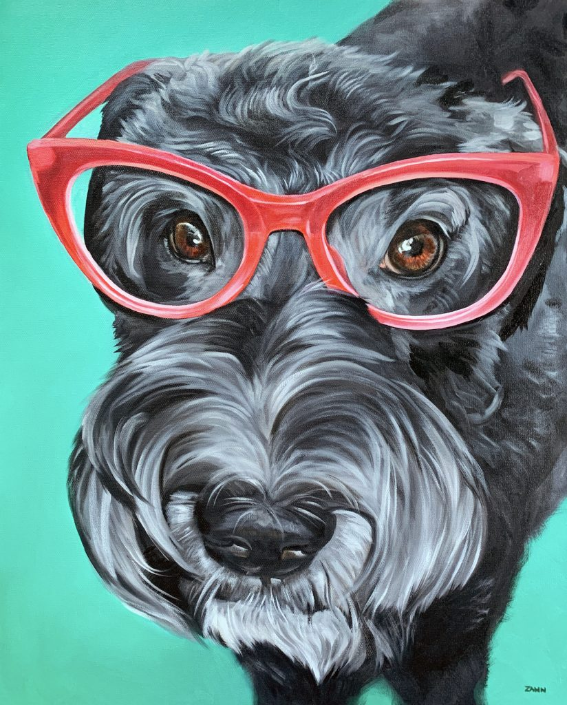Pet Portrait of Libby in Red Glasses on Turquoise in Oil Paint