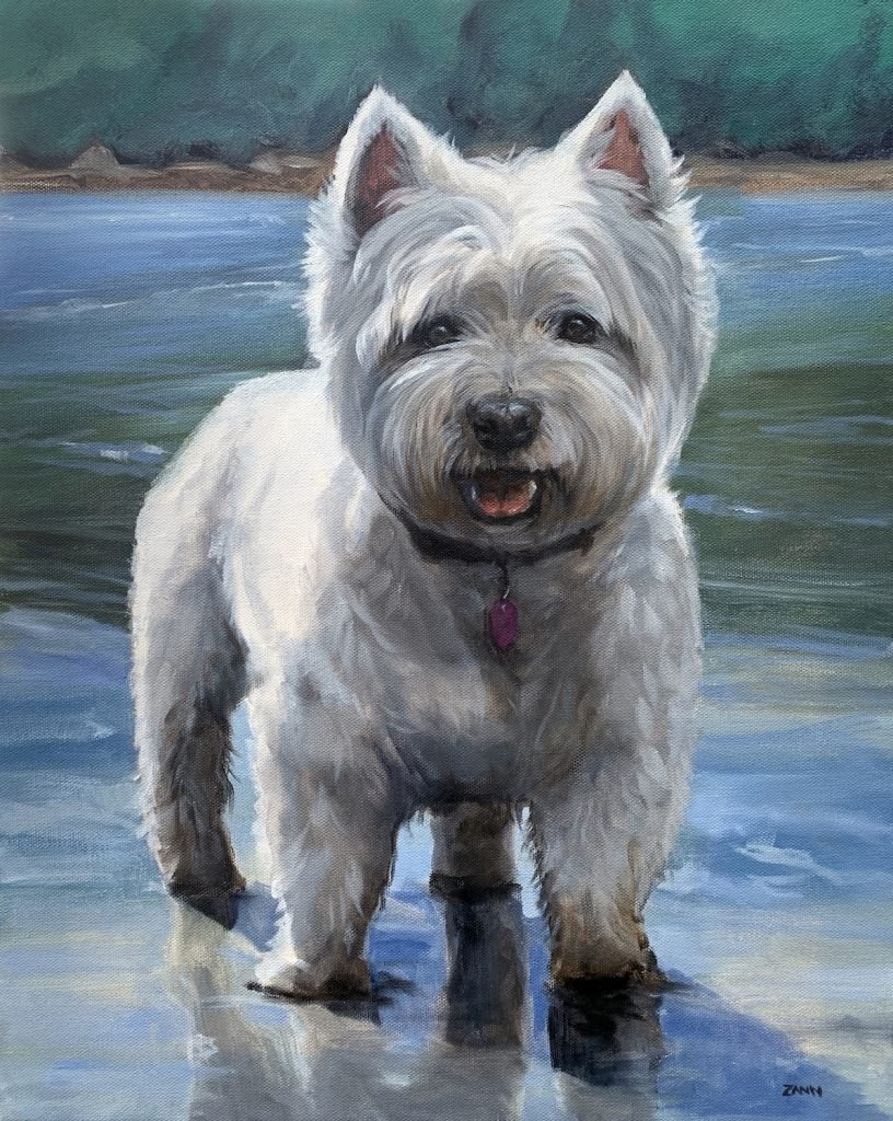 Pet Portrait Art Painting Dog on the Beach in oil on canvas