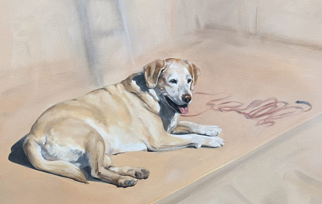 Pet art in oil - lab dog in sunlight realistic
