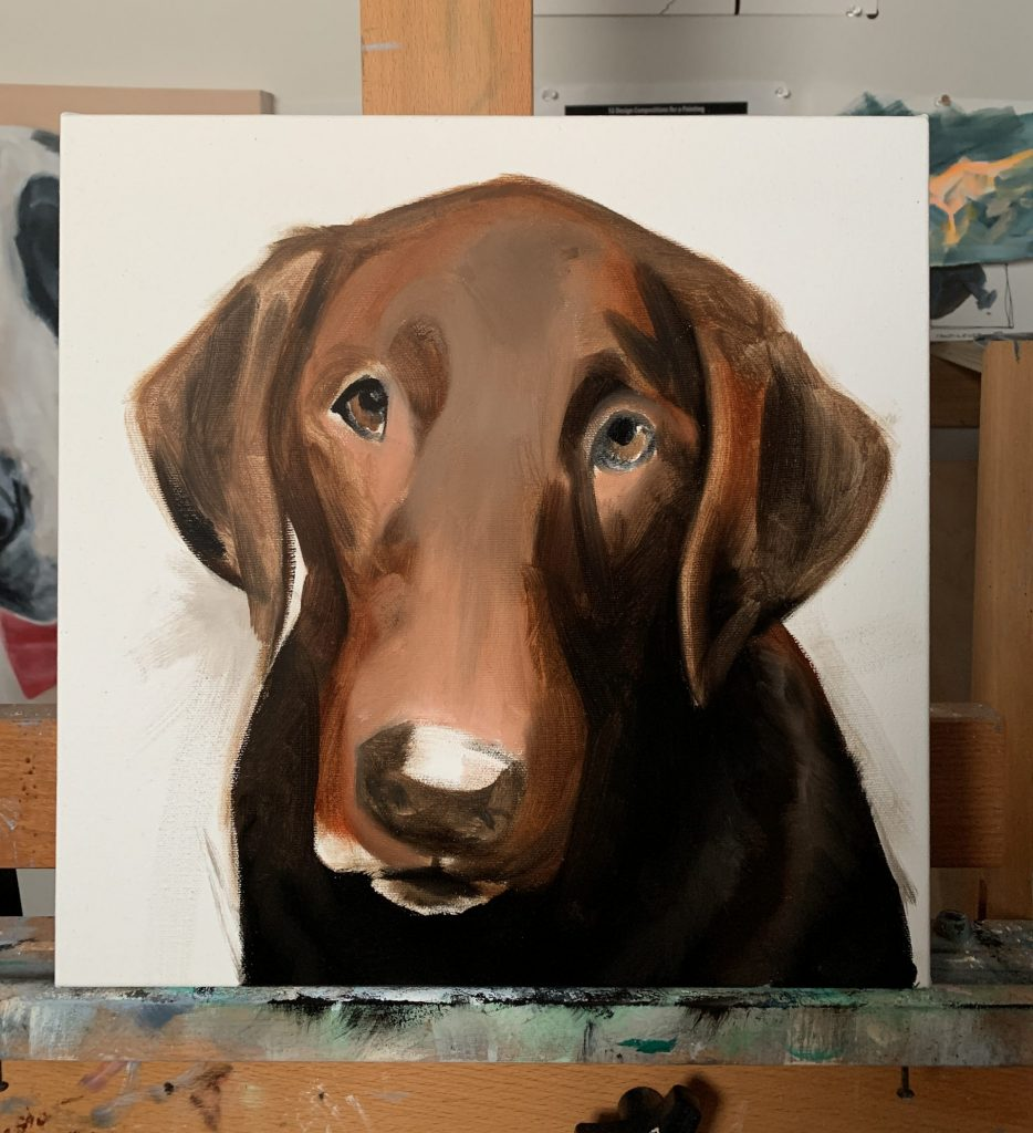 Custom Chocolate Lab Oil Painting Process