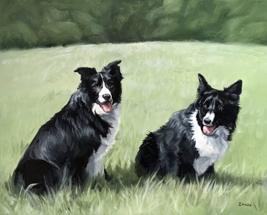 Border Collie Oil Painting Gift