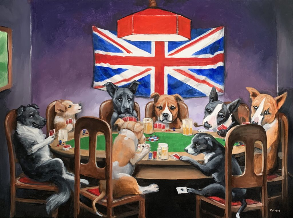 Dogs Playing Poker Oil Painting by Zann