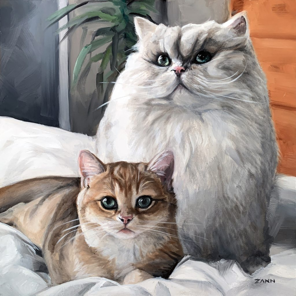 Oil Portrait of two cats