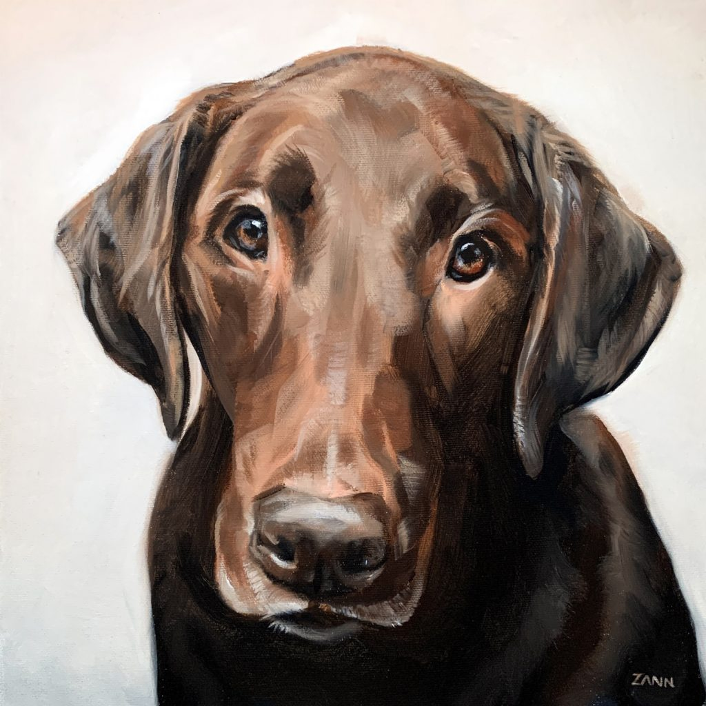 Chocolate Lab Oil Painting Dog Portrait Christmas
