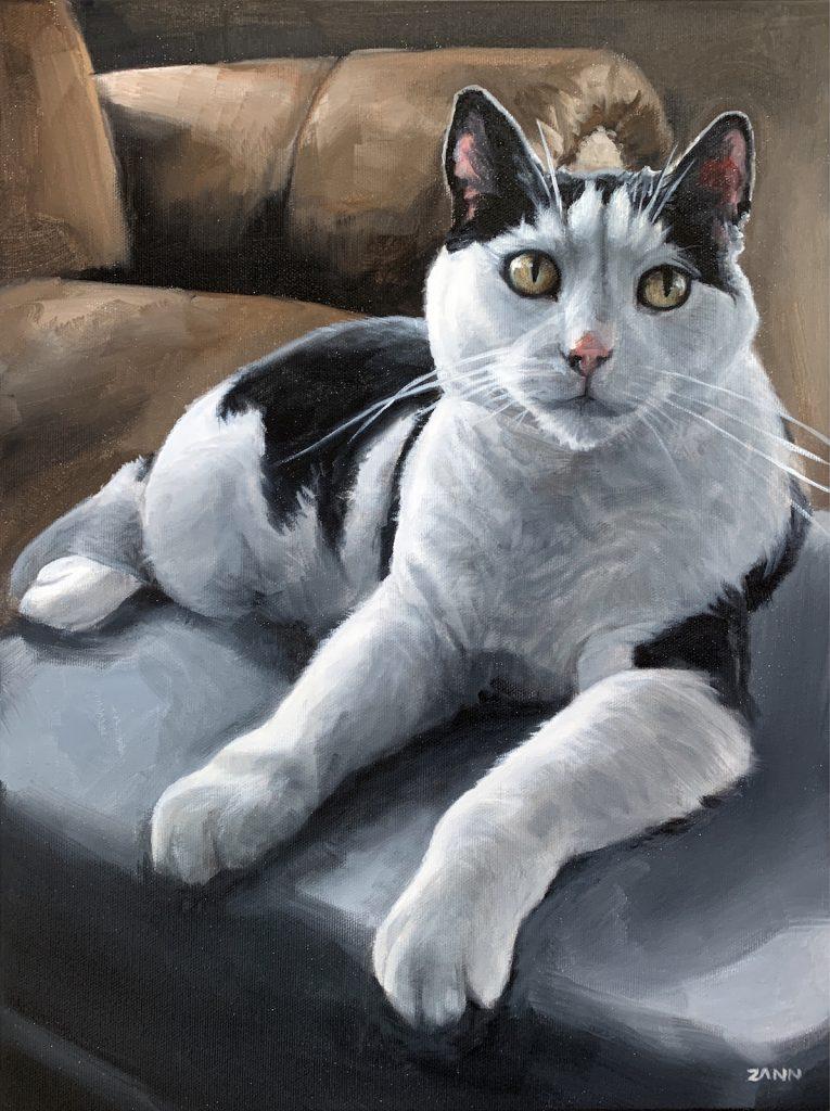 Black and White Cat Painting Art
