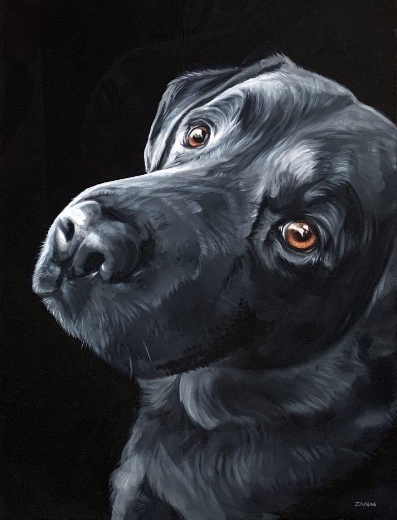Black Lab on Black Background Oil Painting