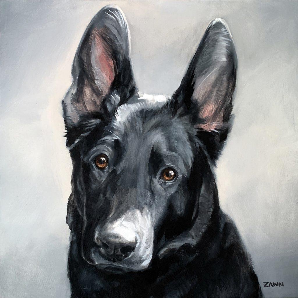 Black Shepherd Mix Oil Painting Dog Portrait
