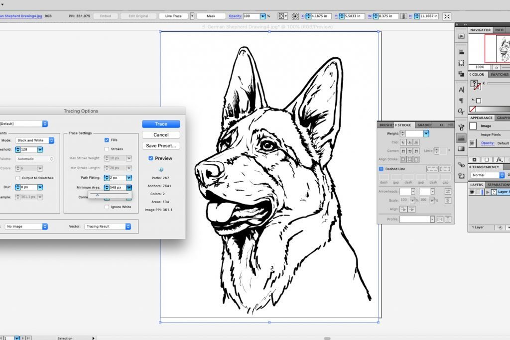 Trace Custom Dog Sticker Drawing
