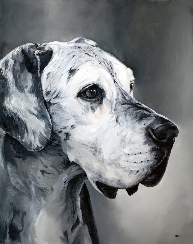 Great Dane Dog Memorial Art in Oil