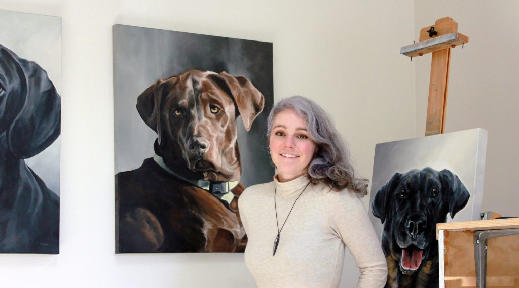 Zann and Dog Oil Painting Chocolate Lab