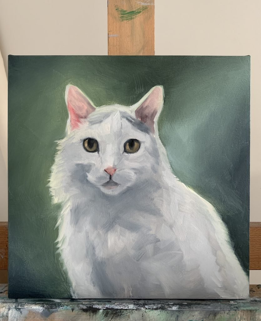 White Cat Oil Painting Process