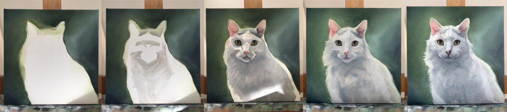 Cat painting process 5 steps