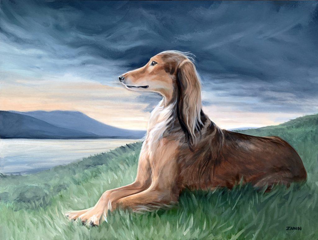 Saluki dog portrait painting