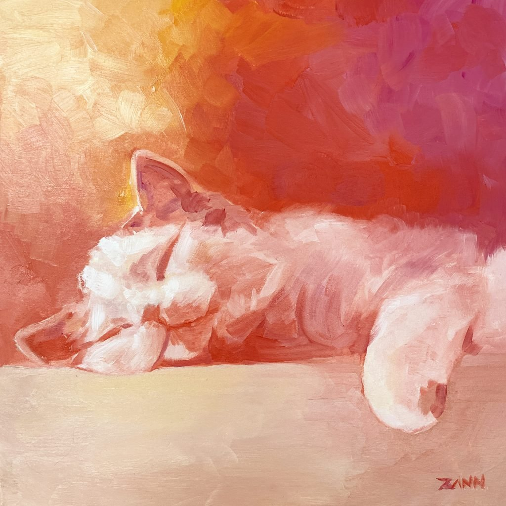 Warm Orange Kitty Art in Oil Paint