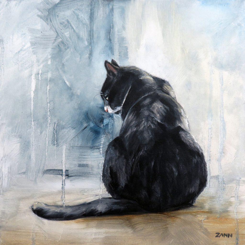 Oil on canvas tuxedo cat painting
