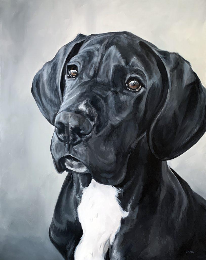 Black Dog Painting Great Dane