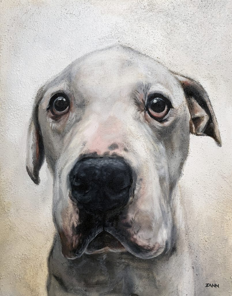Dog memorial painting with ash