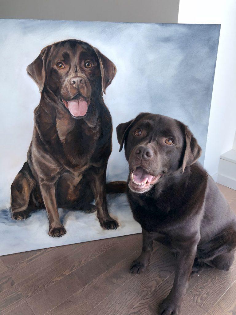 chocolate lab painting large dog art