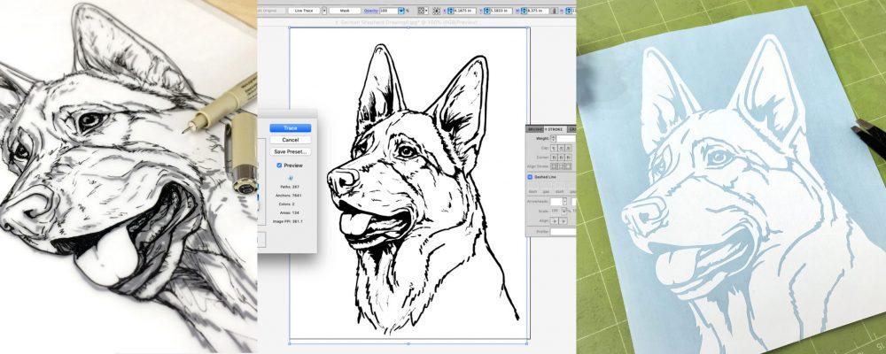 Custom Vinyl Sticker of Your Dog Process