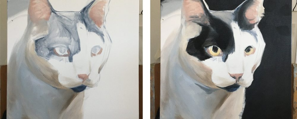 Cat painting before and after background of black