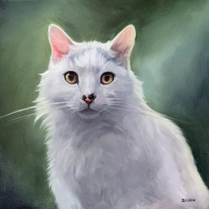 White Cat portrait painting Christmas Gift