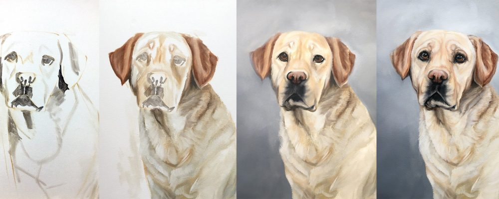 Dog Portrait Painting Process